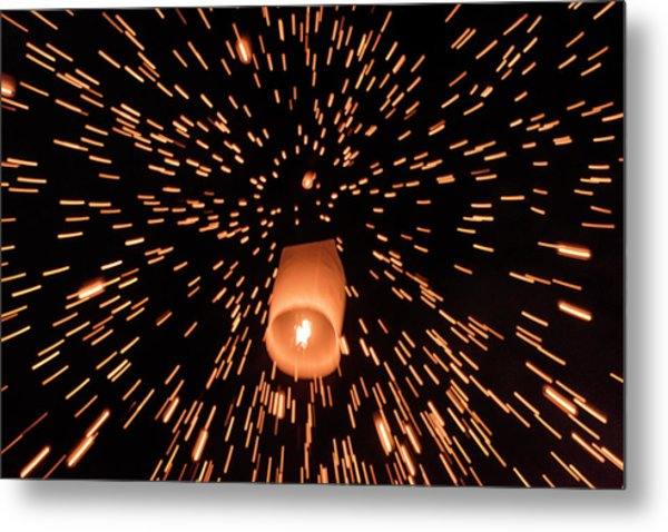 Metal Print featuring the photograph Lanterns In The Sky by Pradeep Raja Prints
