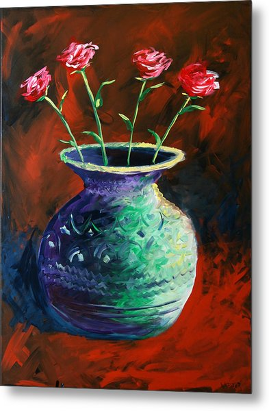 Large Abstract Roses In Vase Painting Metal Print by Mark Webster