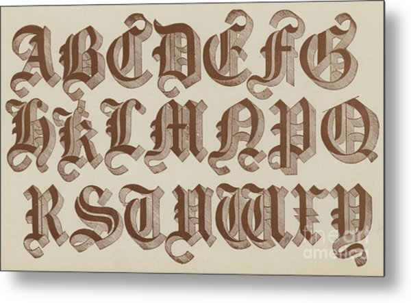 Large Old English Riband Metal Print