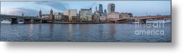 Large Panorama Of Downtown London Betwen The London Bridge And T Metal Print
