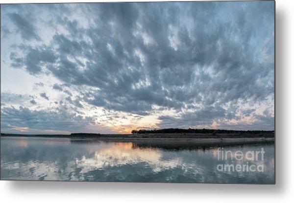 Large Panorama Of Storm Clouds Reflecting On Large Lake At Sunse Metal Print