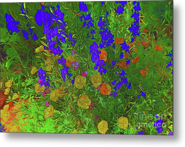 Larkspur And Primrose Garden 12018-3 Metal Print