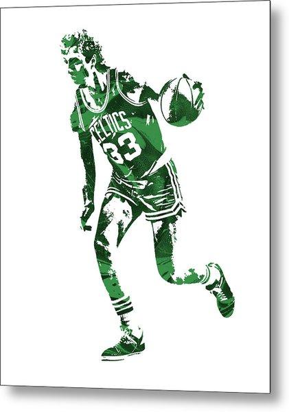 Larry Bird Boston Celtics Pixel Art 10 Metal Print