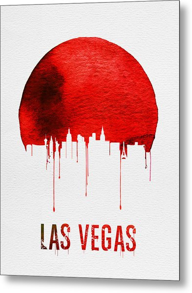 Las Vegas Skyline Red Metal Print