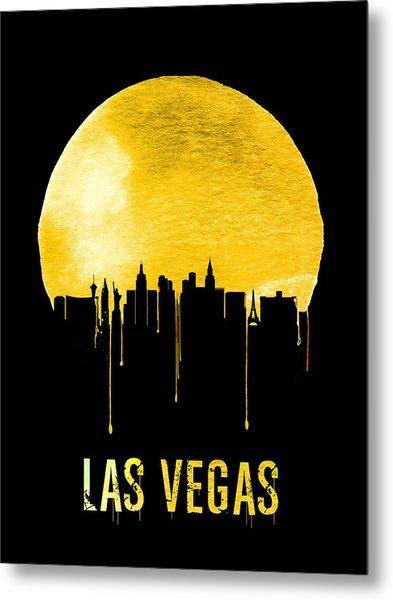 Las Vegas Skyline Yellow Metal Print