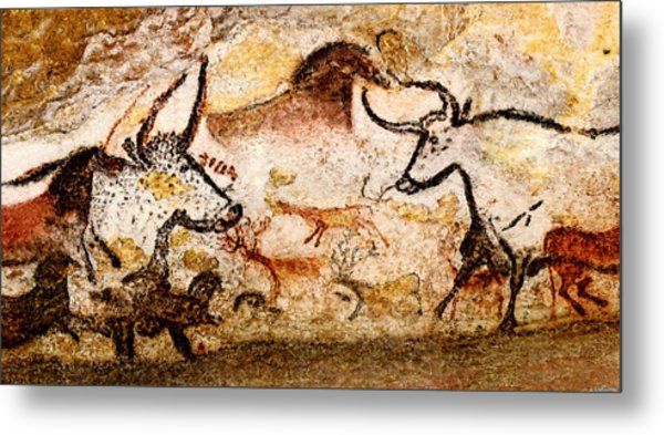 Lascaux Hall Of The Bulls - Deer And Aurochs Metal Print