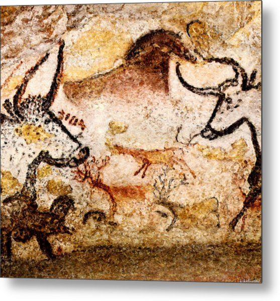 Lascaux Hall Of The Bulls - Deer Between Aurochs Metal Print
