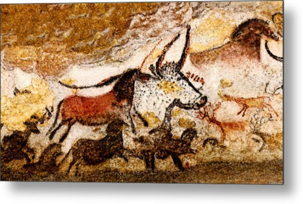 Lascaux Hall Of The Bulls - Horses And Aurochs Metal Print