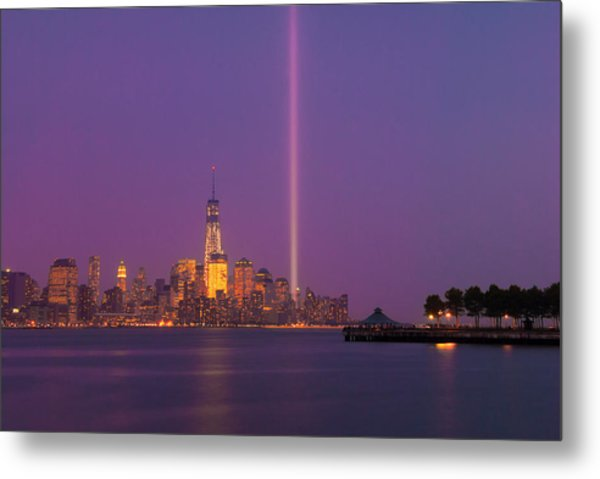 Laser Twin Towers In New York City Metal Print