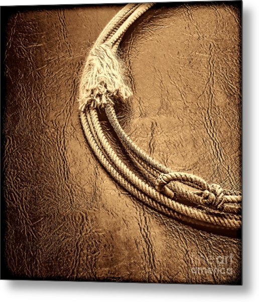 Lasso On Leather Metal Print
