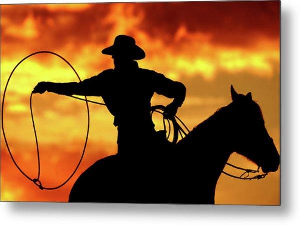 Lasso Sunset Cowboy Metal Print