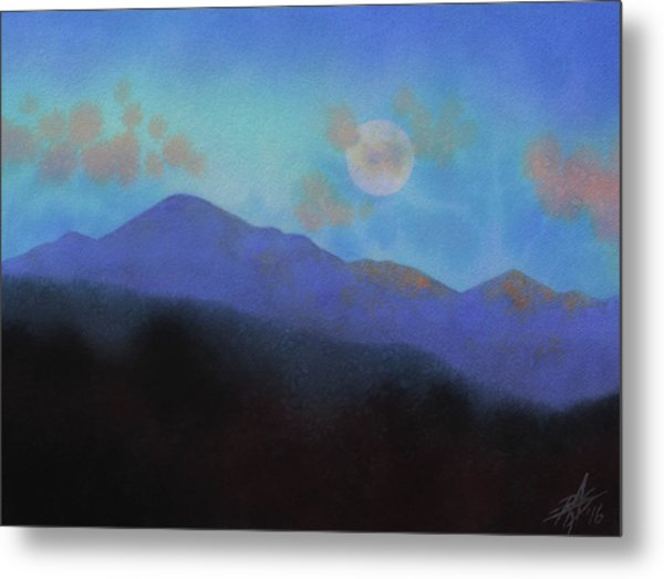 Last Light With Moonrise Over Iron Mountain Metal Print by Robin Street-Morris