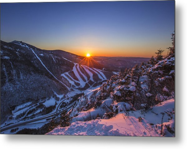 Last Winter Sunset Over Cannon Mountain Metal Print