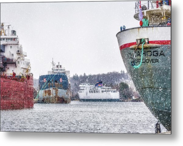 Late Harbour Snow Metal Print