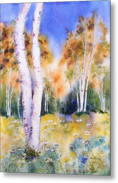 Late Summer Birches Metal Print