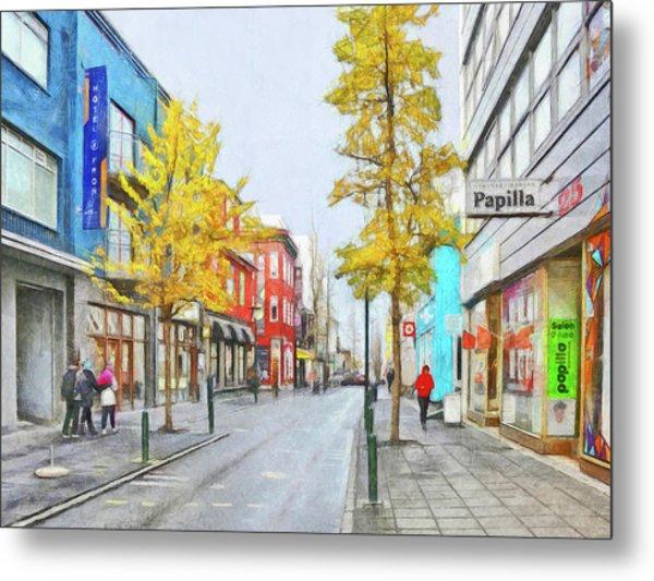 Metal Print featuring the digital art Laugavegur Street In Downtown Reykjavik by Digital Photographic Arts