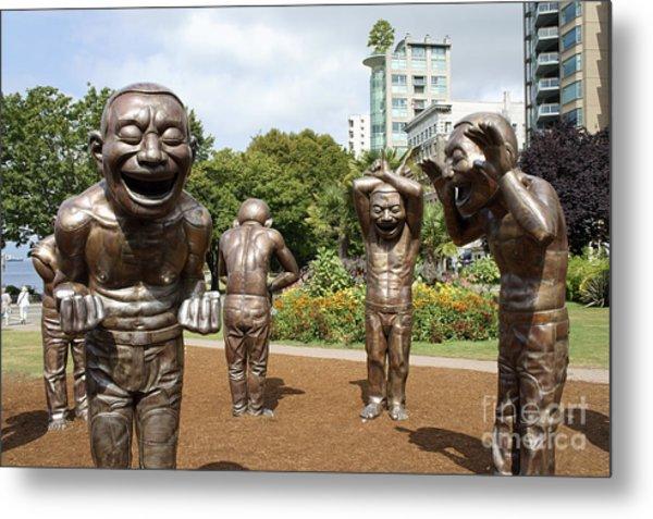Laughing Men Sculptures Vancouver Canada Metal Print
