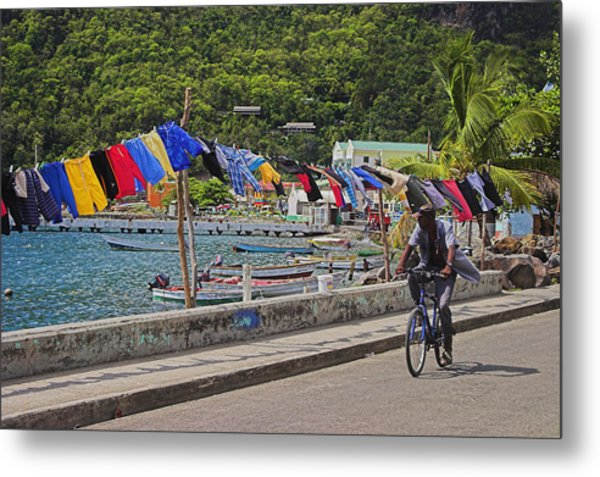 Laundry Drying- St Lucia. Metal Print by Chester Williams