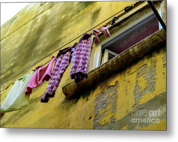 Laundry Hanging In Rovinj, Croatia Metal Print