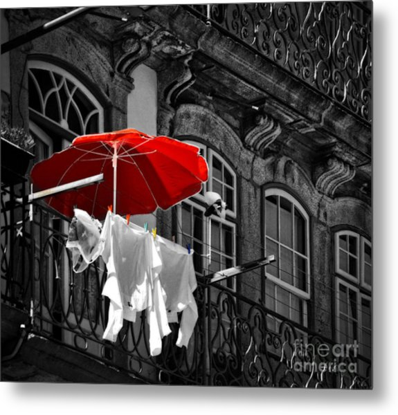 Laundry With Red Umbrella In Porto - Portugal Metal Print