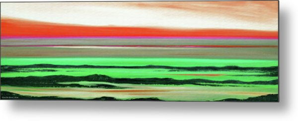 Lava Rock Abstract Panoramic Sunset In Red And Green Metal Print
