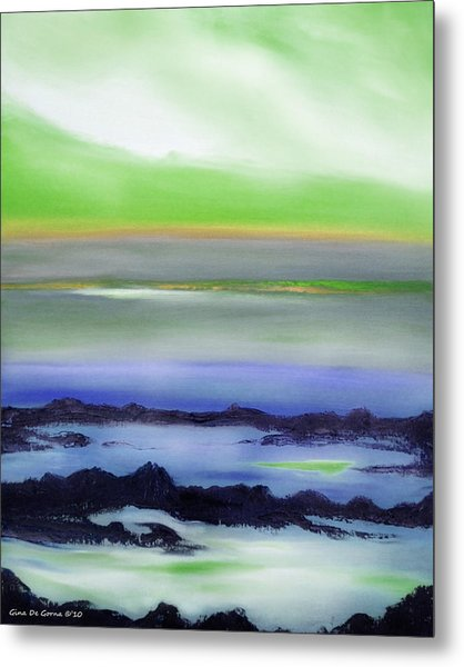 Lava Rock Abstract Sunset In Blue And Green Metal Print