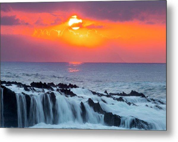 Lava Rock And Vog Sunset Metal Print