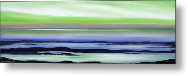 Lava Rock Panoramic Sunset In Green And Blue Metal Print