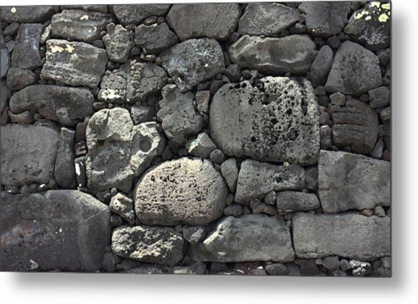 Lava Rock Wall 1 Dark Metal Print