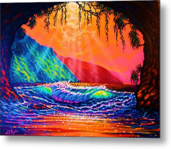 Lava Tube Fantasy In Gold Metal Print