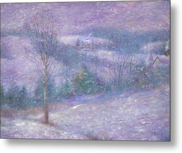 Lavender Impressionist Snowscape Metal Print