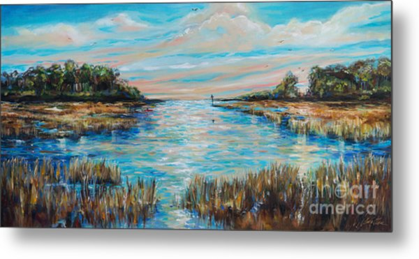 Lazy Coastal River II Metal Print