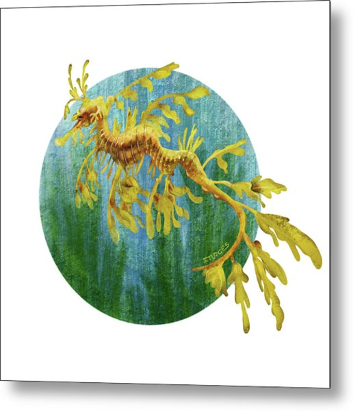 Leafy Dragon Metal Print