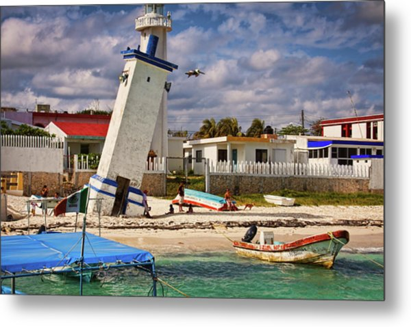 Leaning Lighthouse Metal Print
