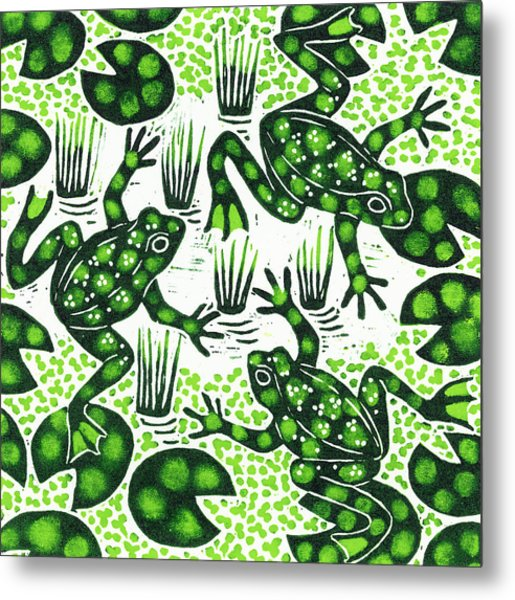 Leaping Frogs Metal Print