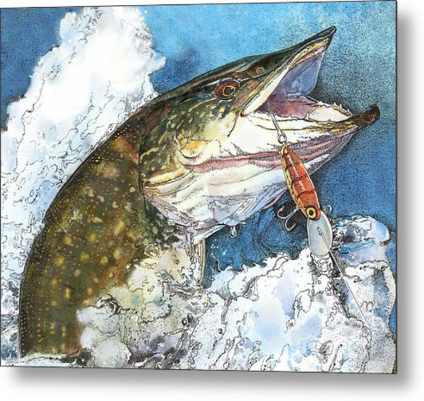 leaping Pike Metal Print