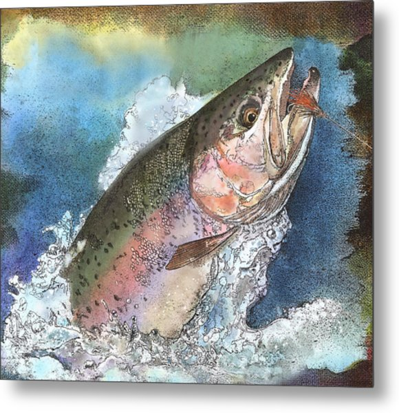 Leaping Rainbow Trout Metal Print