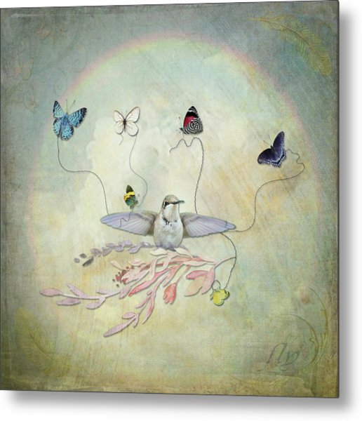 Metal Print featuring the digital art Learning To Fly by Sue Collura
