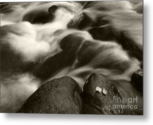 Leaves And Waterfall Metal Print