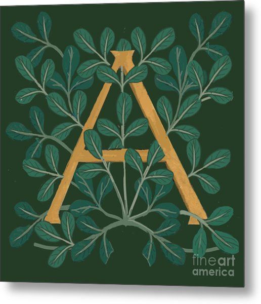 Leaves Letter A Metal Print