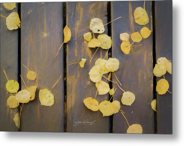 Leaves On Planks Metal Print