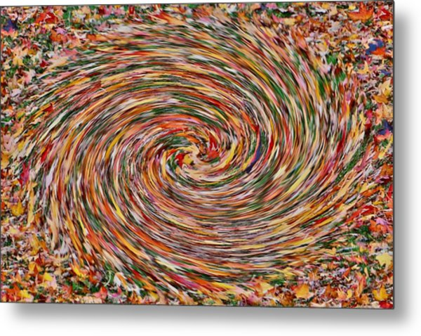 Leaves Playing Roulette Metal Print