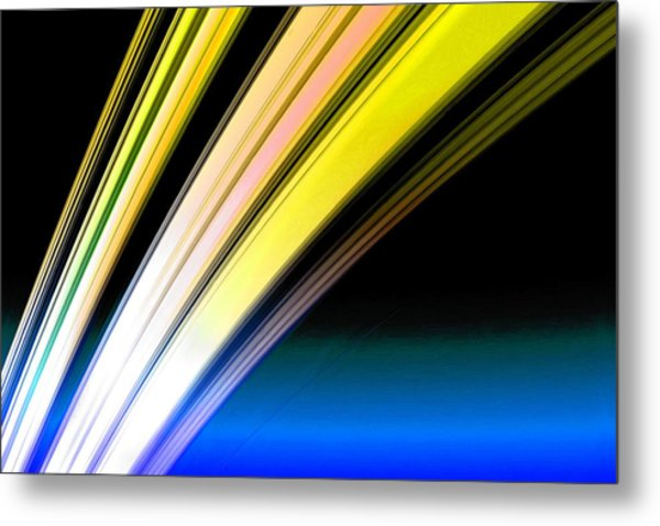 Leaving Saturn In Gold And Blue Metal Print