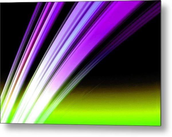 Leaving Saturn In Purple And Electric Green Metal Print