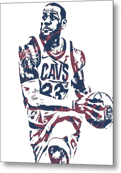 Lebron James Cleveland Cavaliers Pixel Art 50 Metal Print
