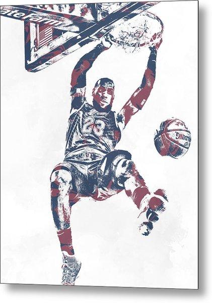 Lebron James Cleveland Cavaliers Pixel Art 64 Metal Print