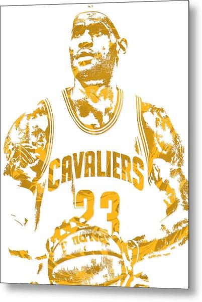 Lebron James Cleveland Cavaliers Pixel Art 8 Metal Print