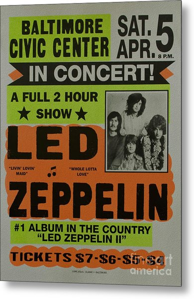 Led Zeppelin Live In Concert At The Baltimore Civic Center Poster Metal Print