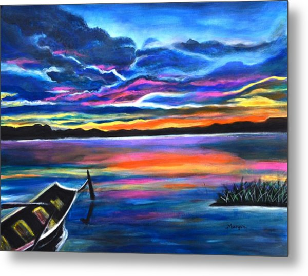 Left Alone A Seascape Boat Painting At Sunset  Metal Print