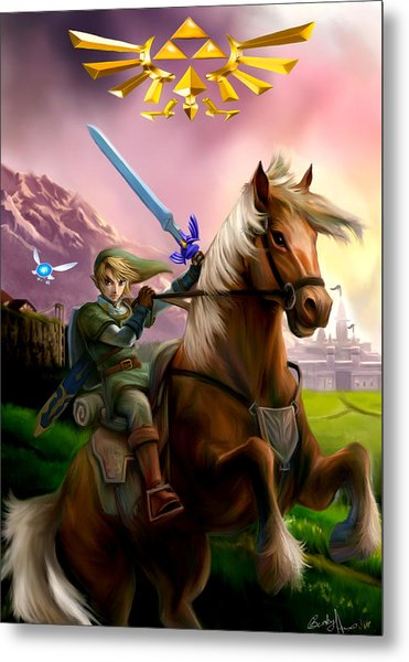 Legend Of Zelda- Link And Epona Metal Print by Becky Herrera